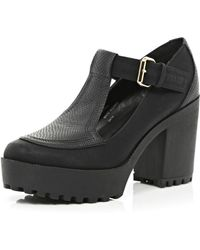 River Island Black Chunky Cleated Sole T Bar Shoes - Lyst