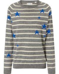Chinti & Parker Grey Stripe Cashmere Star Jumper - Lyst