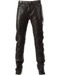 Saint Laurent Black Studded Trousers - Lyst