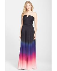 Halston Heritage Chiffon Fit & Flare Gown - Lyst