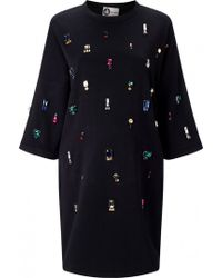 Lanvin Embroidered Jersey Dress black - Lyst
