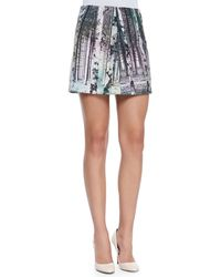 Tibi Enchanted Forest Printed Miniskirt - Lyst