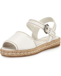 Prada Leather Espadrille Sandal - Lyst