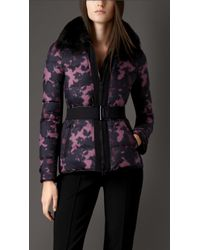Burberry Showerproof Puffer Jacket with Fox Fur Collar - Lyst