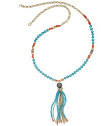 Inc International Concepts Gold-Tone Turquoise And Coral Bead Tassel Necklace - Lyst