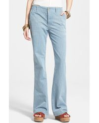 Free People Railroad Stripe Flare Jeans - Lyst