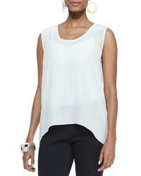 Eileen Fisher Sleeveless Long Silk Top - Lyst