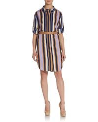 Halston Heritage Silk Striped Shirtdress - Lyst