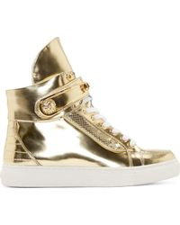 Versus  Gold Safety Pin High Top Sneakers - Lyst