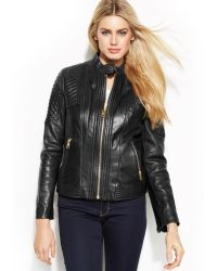 Michael Kors Michael Bucklecollar Quilted Leather Jacket - Lyst