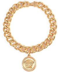 Versace Goldplated Emblem Coin Necklace - Lyst