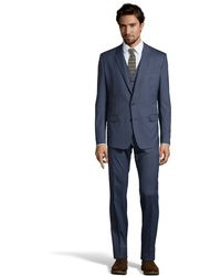 Dolce & Gabbana Navy Blue Wool 2-Button 'Martini' 3-Piece Suit With Pleated Front Pants - Lyst
