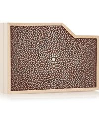 Lee Savage - Negative Space Rose Gold-Tone, Stingray And Leather Box Clutch - Lyst