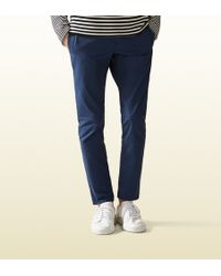 Gucci Softened Stretch Cotton Sailor Chino blue - Lyst