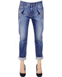 Stella McCartney Swallows Embroidered Stretch Denim Jeans - Lyst