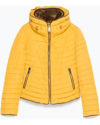 Zara | Quilted Coat With Faux Fur Collar | Lyst
