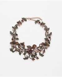 Zara | Floral And Pearl Motif Necklace | Lyst