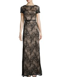 Catherine Deane Short-Sleeve Belted Lace Dress black - Lyst