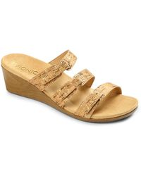 Vionic - Dwyn Leather Wedge Slide Sandals - Lyst