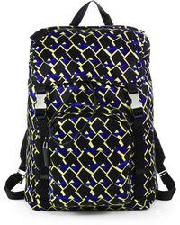 Prada Nylon Argyle Print Backpack - Lyst