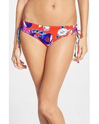 Seafolly Field Trip Flower-Print Bikini Bottoms red - Lyst