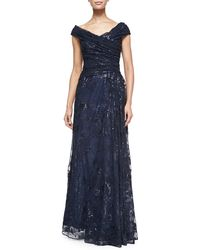 Liancarlo - Off-the-shoulder Metallic Lace Gown - Lyst