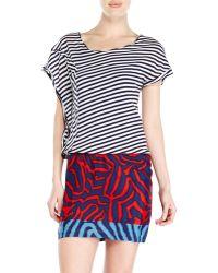 Alysi Asymmetrical Dual Print Dress - Lyst