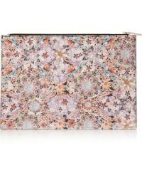 Tabitha Simmons Large Floral-print Textured-leather Pouch - Lyst