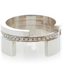 Maison Dauphin - White Gold And Diamond Asymmetric Ring - Lyst
