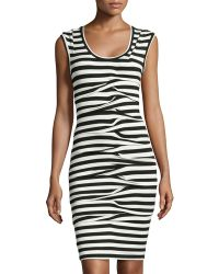 Nicole Miller Sleeveless Striped Dress - Lyst