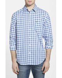 Lacoste Classic Fit Cotton Gingham Poplin Shirt blue - Lyst