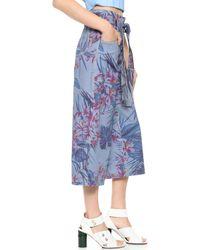 SUNO - Floral Print Denim Trousers - Lyst
