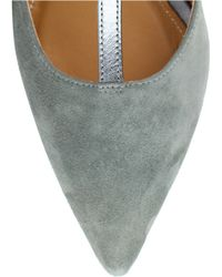 Kay Unger - Sarasi Grey Suede T-strap Court Shoes - Lyst