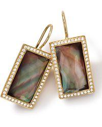 Ippolita 18k Gold Gelato Small Baguette Black Shell Earrings with Diamonds - Lyst