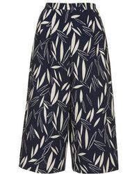 Topshop Cape Leaf Print Culottes - Lyst