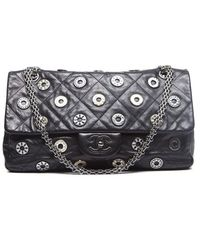 Chanel Pre-owned Lambskin Swarovski Charms Jumbo Flap Bag - Lyst