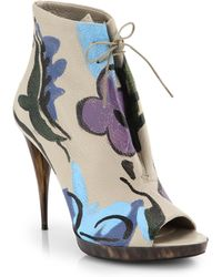 Burberry Prorsum | Hand-Painted Leather Peep-Toe Booties | Lyst
