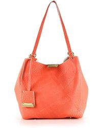 Burberry Canterbury Small Plaid-Embossed Pebbled-Leather Tote orange - Lyst