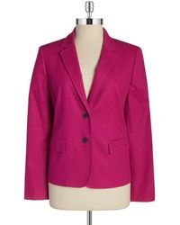Anne Klein Textured Two Button Blazer - Lyst