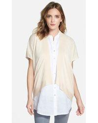 Eileen Fisher Organic Linen Open Front Cardigan - Lyst