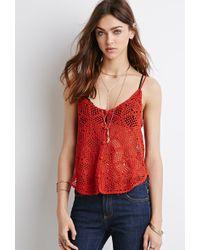 Forever 21 Open Crochet Cami - Lyst