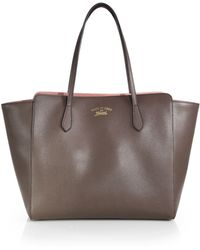 Gucci Swing Leather Tote - Lyst