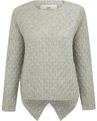 Day Birger Et Mikkelsen Grey Stitch Sequin Diamond Knit Jumper - Lyst