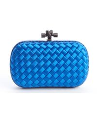 Bottega Veneta Cobalt Blue Intrecciato Satin Knot Small Clutch - Lyst