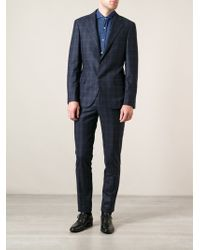 Brunello Cucinelli Blue Checked Suit - Lyst
