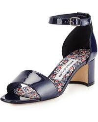 Manolo Blahnik Lauratom Shimmer Patent Ankle-wrap Sandal - Lyst