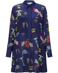 Mary Katrantzou Oriane Blouse Dress Symbol Navy - Lyst