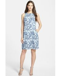 Nordstrom Collection 'Darlington' Print Pleat Back Silk Dress - Lyst