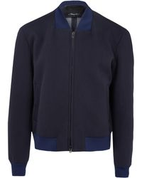 3.1 Phillip Lim Navy Canvas Bomber Jacket - Lyst
