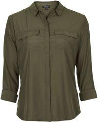 Topshop Double Pocket Military Shirt  Khaki - Lyst